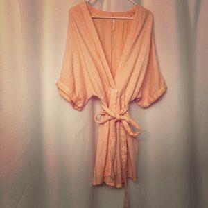 Free People kimono style peach dress size 2